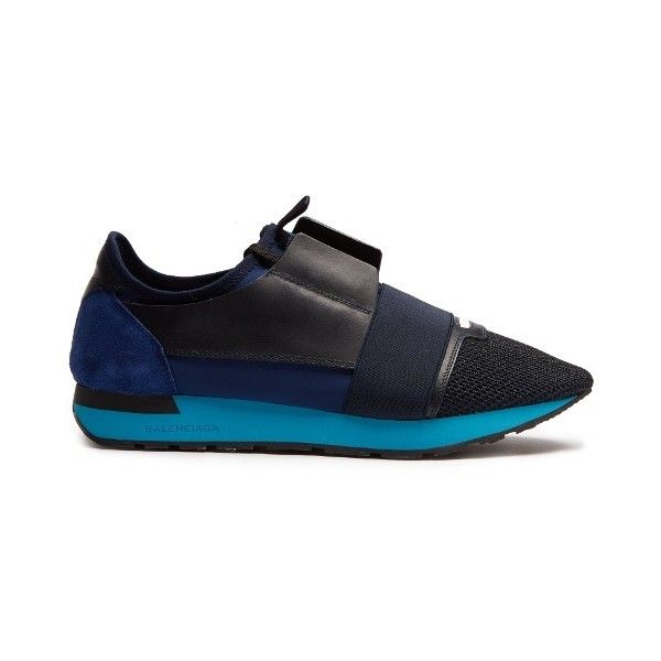 Balenciaga Race Runners panelled low-top trainers ($645) ❤ liked on Polyvore featuring men's fashion, men's shoes, men's sneakers, balenciaga mens shoes, mens low profile shoes, balenciaga mens sneakers and mens low profile sneakers