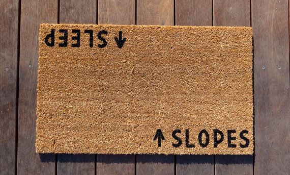 Slopes/Sleep Door Mat doormat  ski lodge decor by Dichotomat