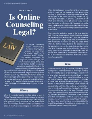 Is Online Counseling Legal?