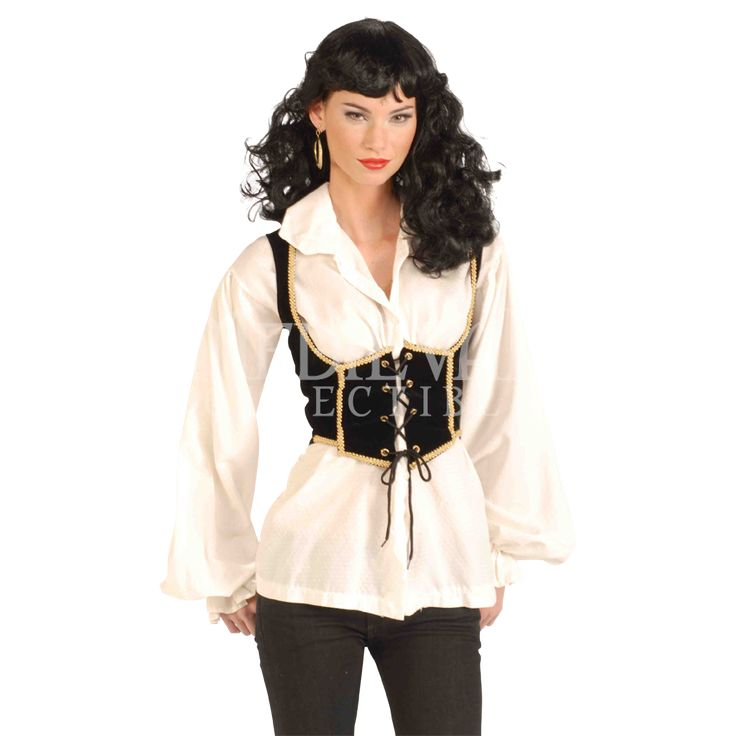Women's Black Pirate Vest (the look of a corset vest but only a fraction of the cost and discomfort)