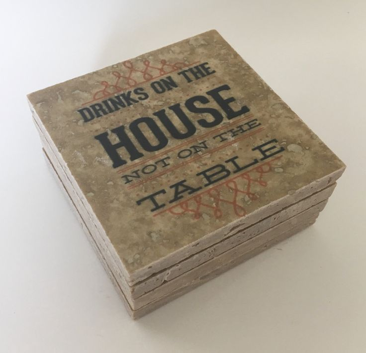 Drinks On The House Not On The Table Coasters Natural Stone Travertine Tile Table  Coasters Set Of 4 W/ Full Cork Bottom Funny Coasters