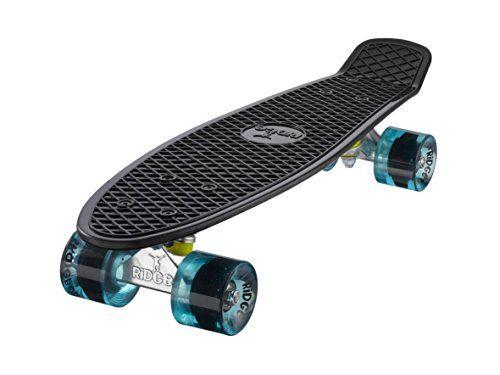 Ridge Skateboard Mini Cruiser Board Komplett Fertig Montiert, Black/Clear Blue, 55 cm, 0786471336649