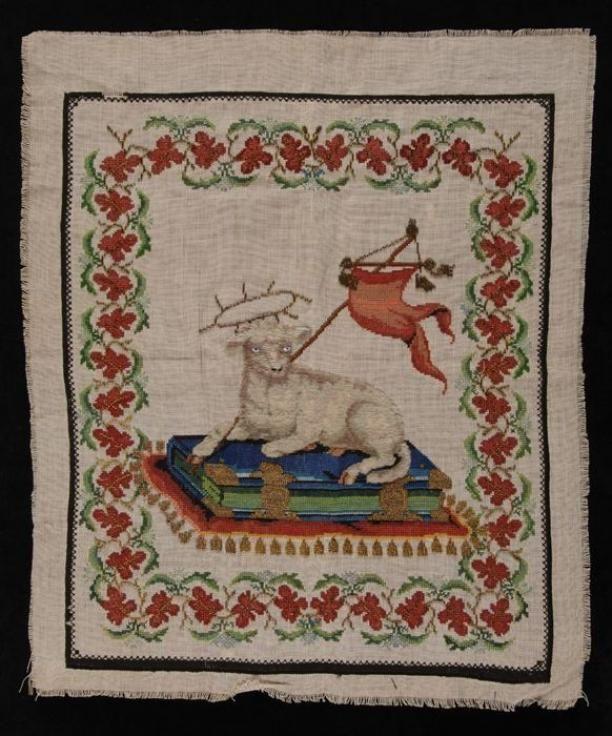 Borduurlap gewerkt in kruissteek in gekleurde zijde en wol en kralen op wit…