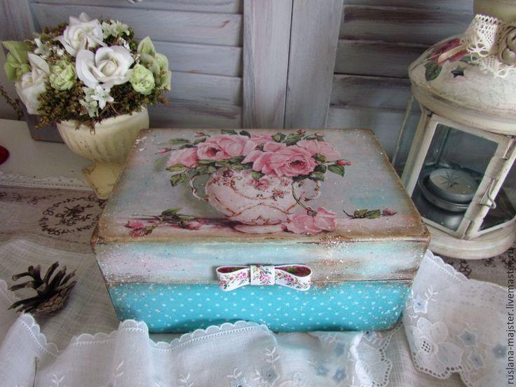 """Купить Короб """"Утренняя свежесть """"продан - голубой, розовый, чаепитие, чай, короб для хранения"""