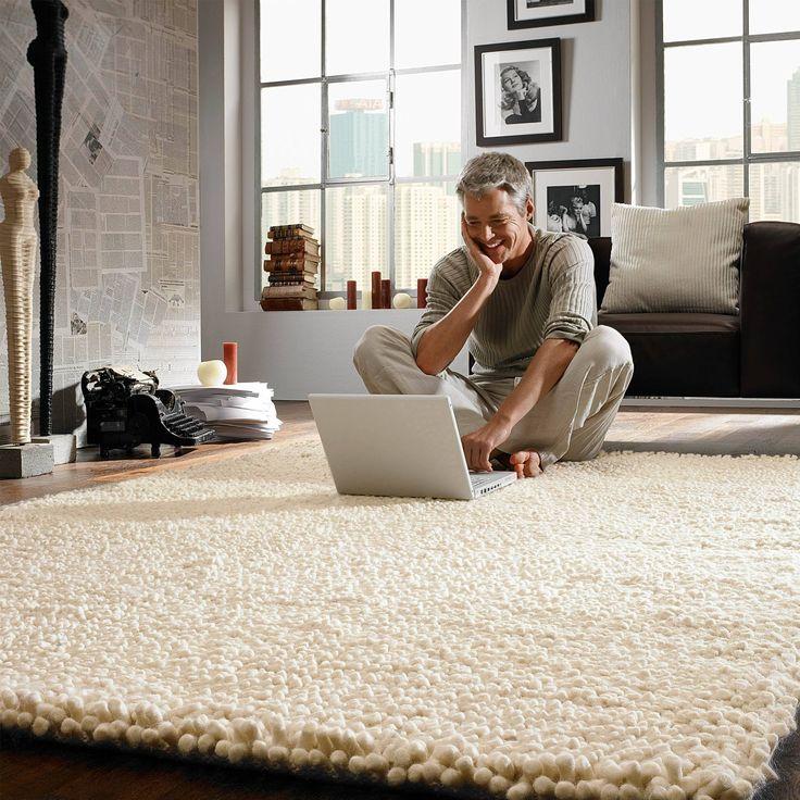 Woolwalker Royal in Creme, 170 x 240 cm - Gemütlicher Woll-Teppich aus 100 % Schurwolle ✔ Mit dem Charme des Ursprünglichen