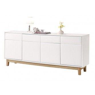 Buffet design blanc laqqué 4 portes 4 tiroirs Venice