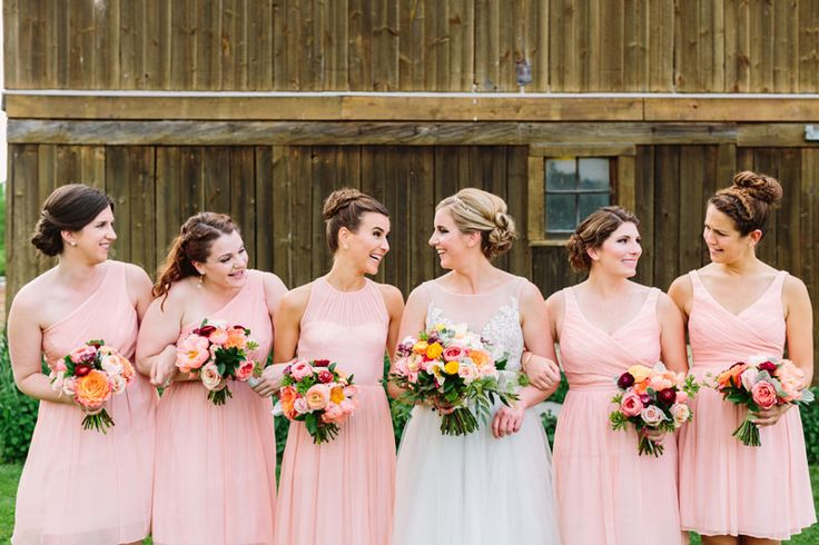 Pictures Of Wedding Party Flowers : Bridesmaid dresses in coral peach with wedding party