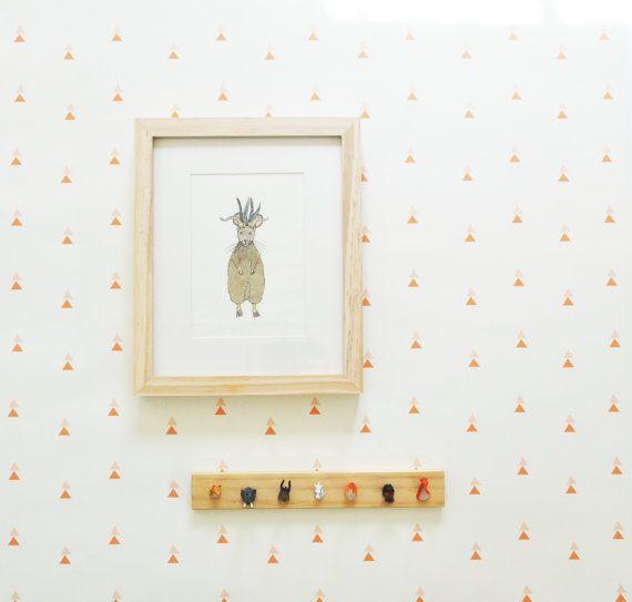 papier peint auto-adhésif // Peachy Keen // Idéale pour les chambres d'enfants et des projets de bricolage