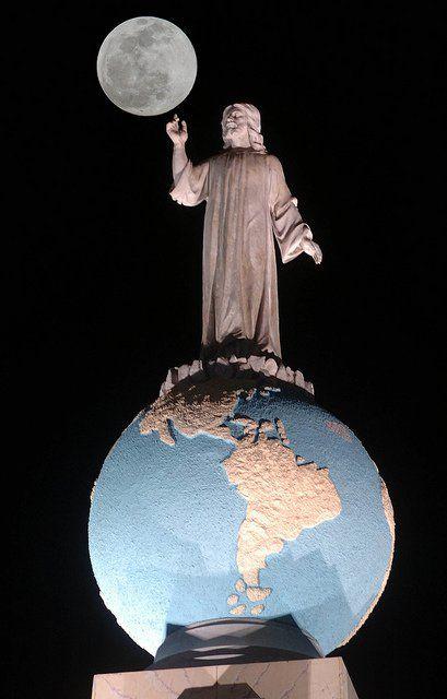 Up close nightscape view of the Monumento al Divino Salvador del Mundo  (English: Monument to the Divine Savior of the World) is a monument located on Plaza El Salvador del Mundo (The Savior of the World Plaza) in San Salvador City, El Salvador.