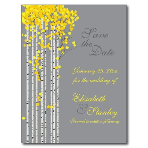 Birch trees yellow, grey wedding Save the Date Post Cards