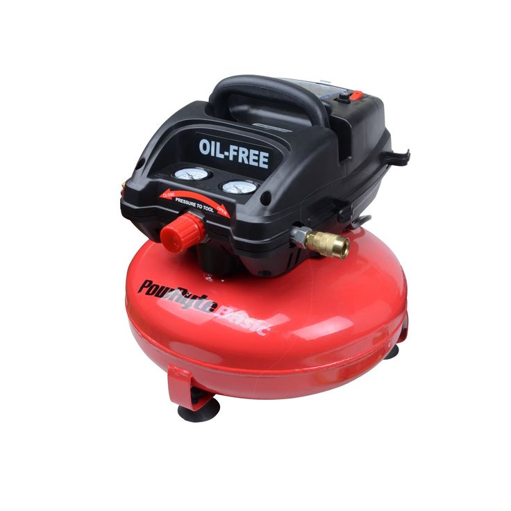 PowRyte Basic 103330 3 Gallon Oil-Free Pancake Portable Air Compressor. 0.6 SCFM @ 90 PSI,100 max PSI, 3 Gallon Tank. Maintenance-free oilless pump for convenience. Innovative fully packed shroud allows for better protection. Carry handle for easy portability. 3-gallon vertical pancake tank for improved center of gravity and easy portability.