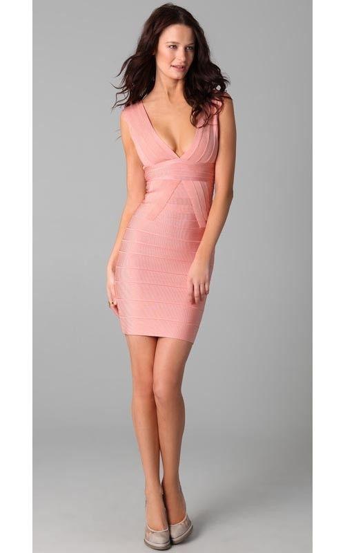 Herve Leger Pink Deep V Neck Dress