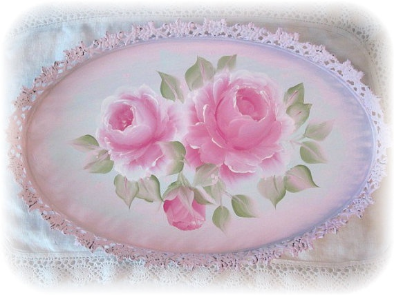 Large Pink Vanity TRAY Hand Painted Roses Sweet by RoseChicFriends, $28.99