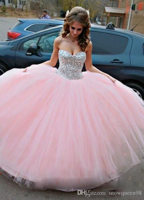 2016 New Crystals Beads Quinceanera Dresses Ball Gowns Sweetheart Cascading Sweet 16 Prom Pageant Dress Formal Party Evening Gowns Custom Quinceaneras Vestidos De Quinceanera From Snowqueen98, $155.98| Dhgate.Com