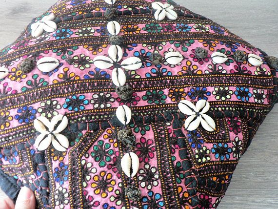 Baluch Hand Embroidered Pillow  Ethnic Boho Pillow  Floral
