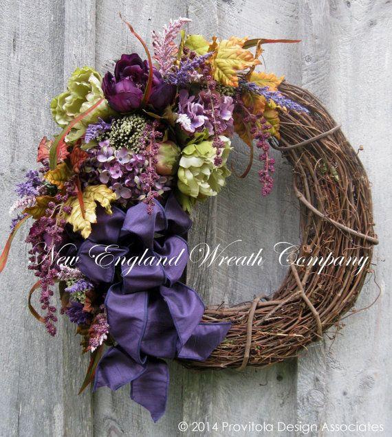 Autumn Victorian Garden Wreath by NewEnglandWreath on Etsy