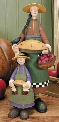 Mother and Daughter Holding Pies Figurine – Harvest Folk Art Figurines & Thanksgiving Collectibles – Williraye Studio $43.50