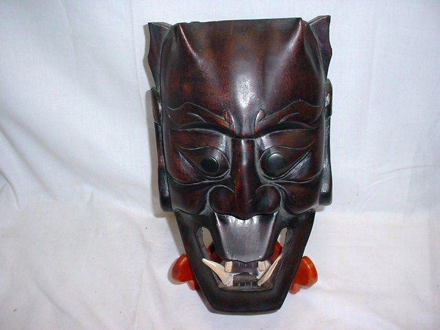 Hand Carved Wood Japanese Oni Mask Noh Hannya Yokai Teeth Demon FREE SHIPPING