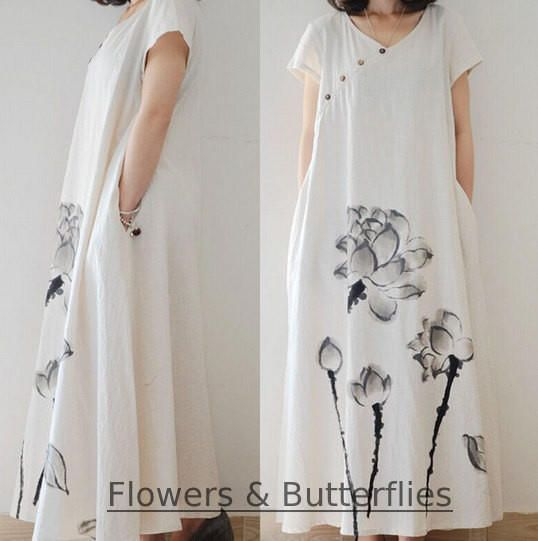 WORLDWIDE FREE SHIPPING 3 sizes Women Cotton Linen Dress White Flowers Summer Pure Color Long Maxi dress natural dress boho summer dress
