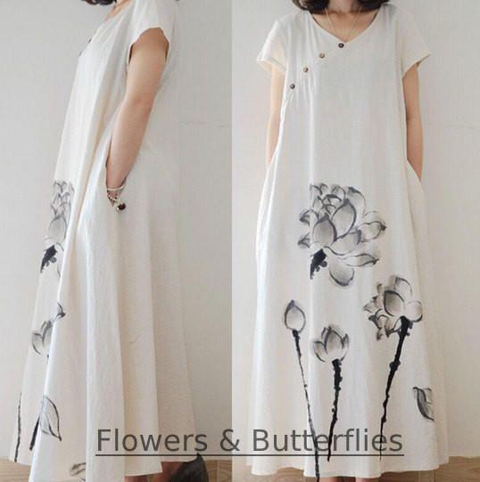 WORLDWIDE FREE SHIPPING 3 sizes Women Cotton Linen Dress White Flowers Summer Pure Color Long Maxi dress natural dress boho summer dress