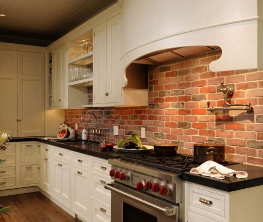 Brick backsplash white cabinet wood floor dark not for Kitchen units made of bricks