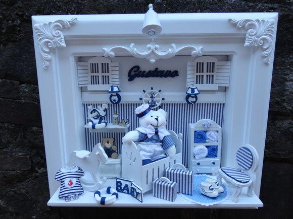 Quadro maternidade bebe urso no berço decoração com motivos náticos com decoração personalizada para o quartinho do seu bebe miniaturas de mdf e apliques de reinas personalizado com o nome do seu bebe R$ 340,00