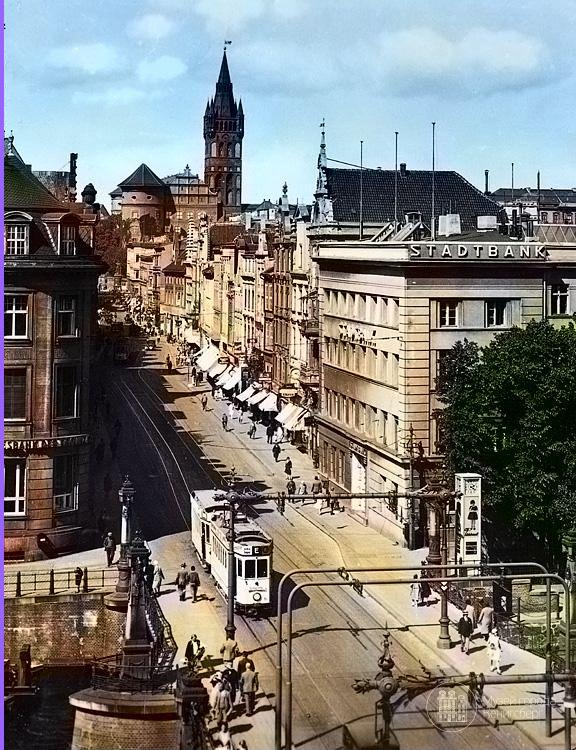 Кёнигсберг. Кнайпхофская длинная, вид с Форштадта в сторону Королевского замка, фото ок. 1935 год