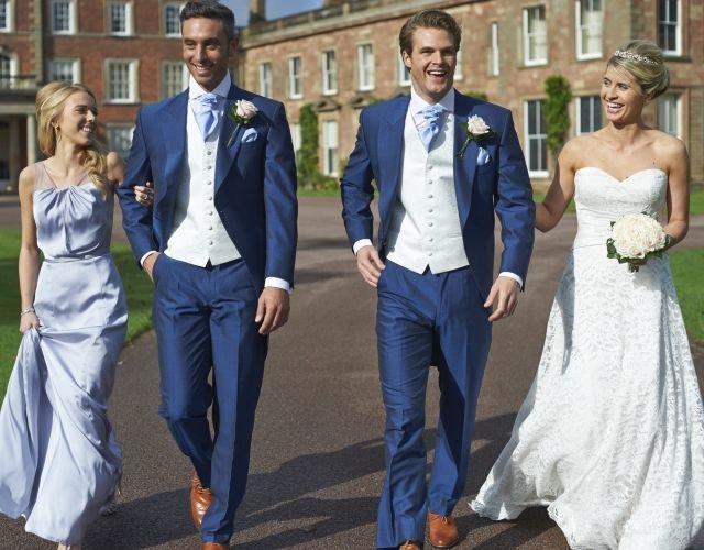 Our royal blue mohair tailcoat, Lydbury. #peterposh #wedding #groom #weddingsuits #bluesuit #bowtie #groomsmen