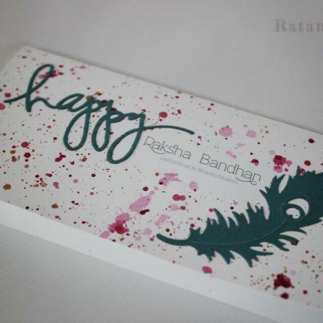 Handmade Rakhi Card.  Experimenting with colour! A modern twist to our new 2015 Raksha Bandhan range