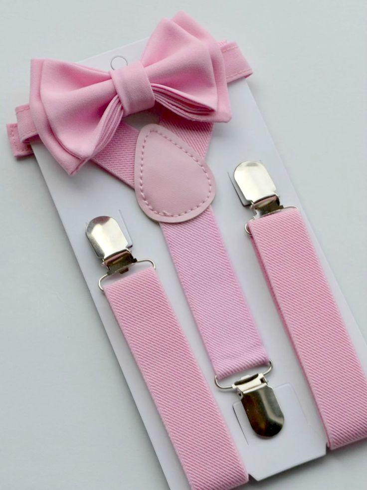 Blush Pink Bow Tie Blush Pink Suspenders Suspenders by armoniia