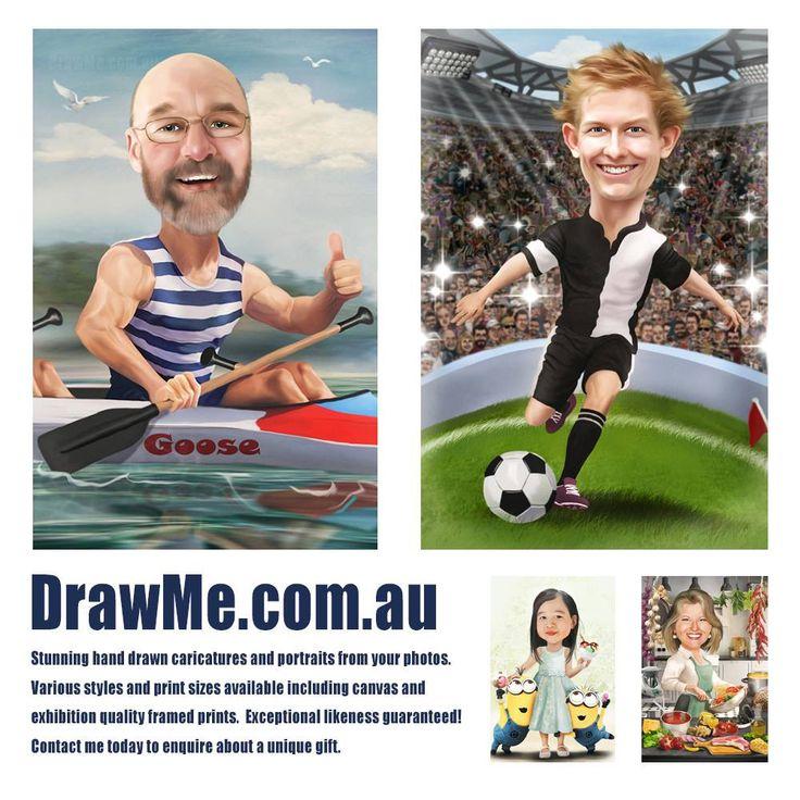 Hand drawn caricatures from www.DrawMe.com.au #wedding #engagement #retirement #birthday