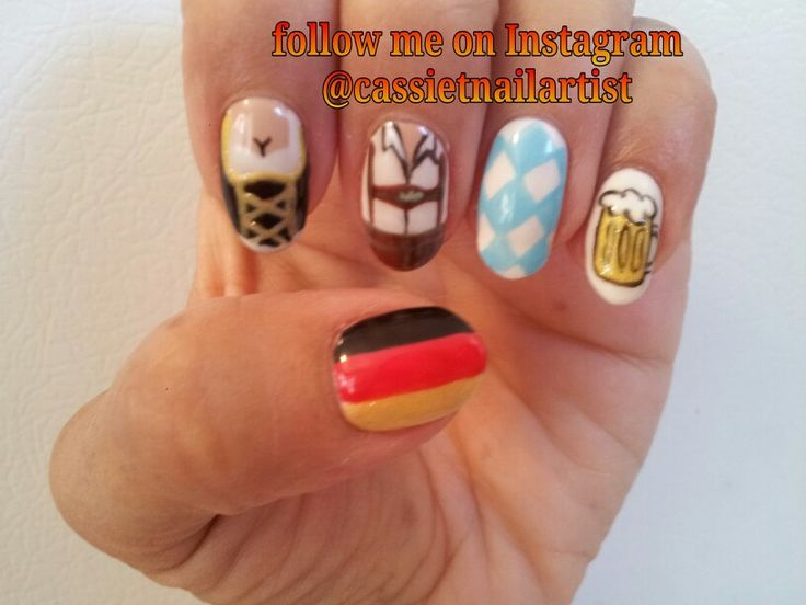 #Oktoberfest nail art by Cassie Thompson nail artist of Vancouver WA Follow me on Instagram @cassietnailartist