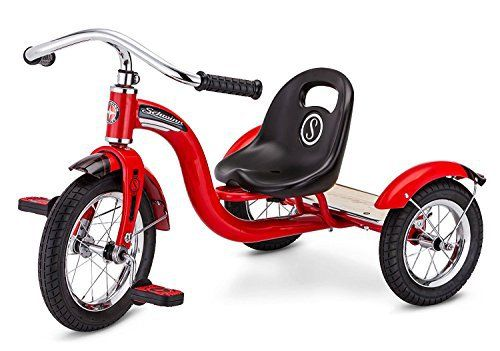 "Product review for 12"" Schwinn Roadster Trike - Retro-Styled Classic Red Tricycle - For young riders, there's no better thrill than hopping on the 12"" Schwinn Vintage Trike! With this retro-styled trike, your little ones will ride in both safety and style. The sturdy wheels have smooth-rolling inflatable tires, and the lowered center of gravity make for a stable ride...."