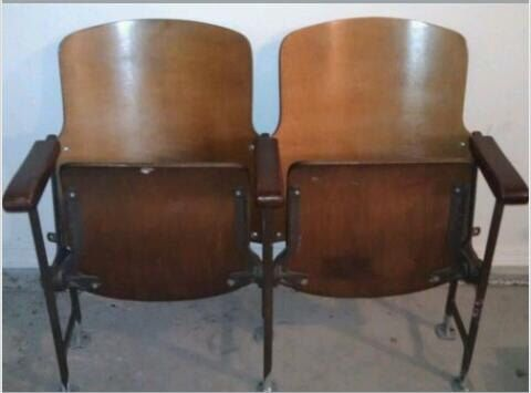 Vintage Two Wooden Movie Theater Theatre Auditorium Seats Chairs 1930s by ABIDES on Etsy https://www.etsy.com/listing/228544963/vintage-two-wooden-movie-theater-theatre