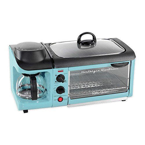 Nostalgia Electrics Retro Series 3-In-1 Breakfast Station in Blue Includes Coffee Maker, Griddle and Toaster Oven