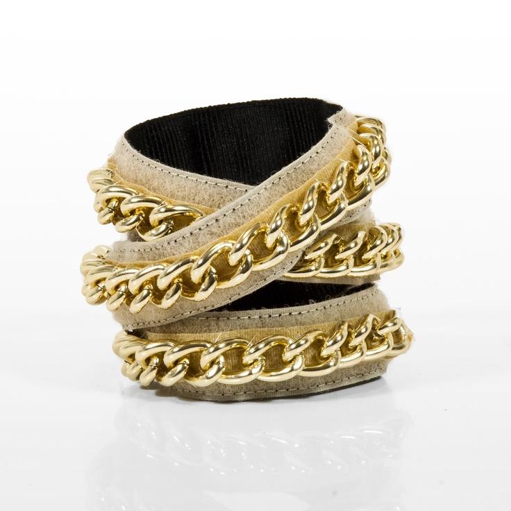 Bracciale  bracciale torchon in velcro foderato in gros grain con catena oro riposizionabile
