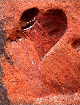 heart-shaped cave  Nature's love : A heart-shaped cave etched by wind and water adorns the face of Uluru (Ayers Rock) in the World Hertage-listed Uluru-Kata Tjuta National Park, encompassing 1,325 square kms of desert in Central Australia.