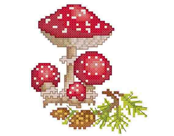 "Mushroom (Amanita) -  PDF Cross Stitch Pattern,  Fabric:18ct  or  14ct Aida, Grid Size:53W x 58H, Design Area:2.72"" x 3.06""  (18ct)  or  3.5"" x 3.93""  (14ct)"