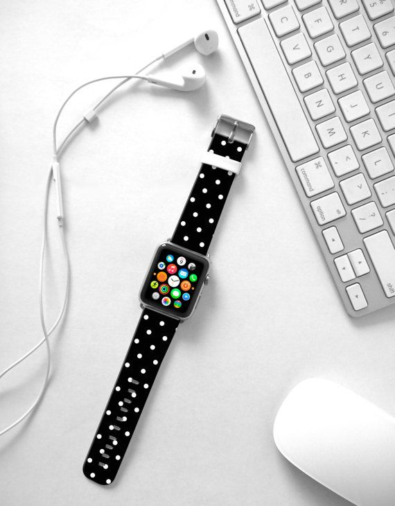 Apple Watch Band 38mm black polka dots women Apple by HiveWorkshop