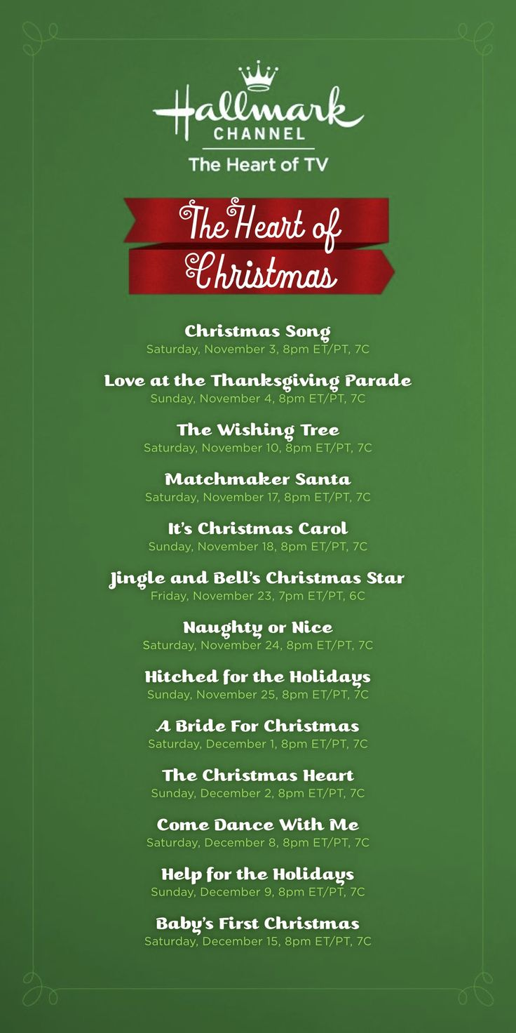 Hallmark Movie Guide-- Here is the holiday movie lineup for the Hallmark Channel