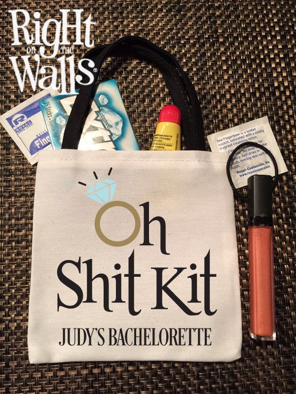 Oh Shit Kit with Ring Mini Tote Bag EMPTY Bachelorette or Bachelor Wedding Custom Hangover Tote Gift Bag Recovery Kit by RightOnTheWalls on Etsy https://www.etsy.com/listing/229211067/oh-shit-kit-with-ring-mini-tote-bag