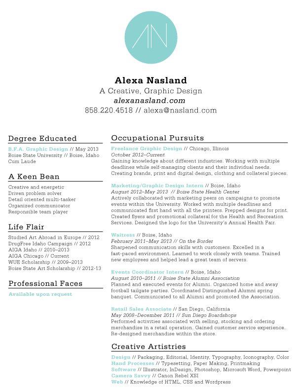 Resume Design Graphic Design Pinterest