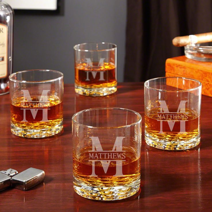 Create an air of sophistication around your home bar with this beautiful set of custom rocks glasses. With each piece being crafted from high-quality glass and a non-stick marble detailed base, this set is an ideal collection for any home. Engraved with our simple yet elegant Oakmont design, each whiskey glass is delivered featuring the name and initial of your choice making these glasses a memorable keepsake for weddings, anniversaries, or any special occasion. Oakmont whiskey glasses…