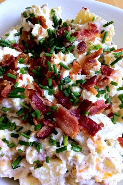 Good for BBQ side dish. Loaded Baked Potato Salad.. I have been looking for this everywhere!!! - Click image to find more popular food & drink Pinterest pins
