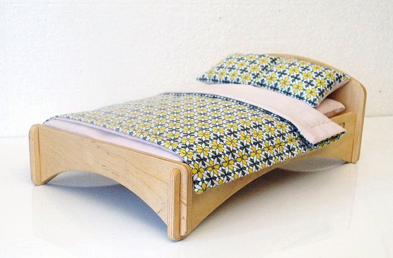 Wooden double bed for doll 12 . Scale 1/6. Bedding by alisontoys