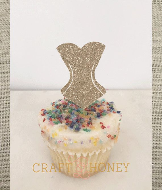 Corset // Bachelorette // Lingerie Shower Cupcake by CraftandHoney