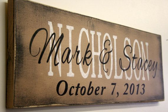 Personalized Name Sign Custom Name Sign Family Name Sign Wedding Anniversary Housewarming Distressed Wood Rustic Vintage Wood Primitive Wood...