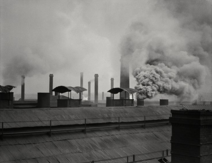 Rooftops and Chimneys, Hadfield Steelworks, Sheffield, Yorkshire, by E.O. Hoppe, 1925.
