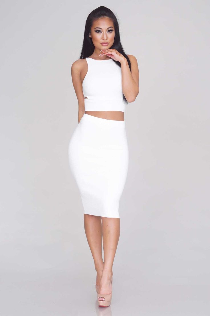 Between The Lines Ribbed Two Piece - Off White
