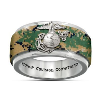 Put a new twist on USMC pride with a stainless steel camo ring that spins! Shop Now!